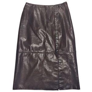 VTG Anne Klein Leather A Line Skirt Chocolate SZ 2